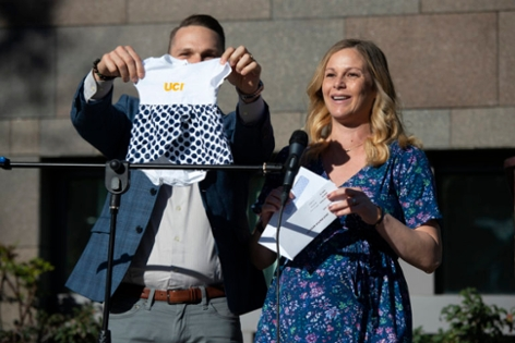 Katy Lunny and her husband Corey Siegel shared the news that she received a residency position in psychiatry at UCI and displayed an Anteater onesie for the baby they're expecting soon.