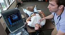 Medical students learn to use ultrasound as a diagnostic tool.